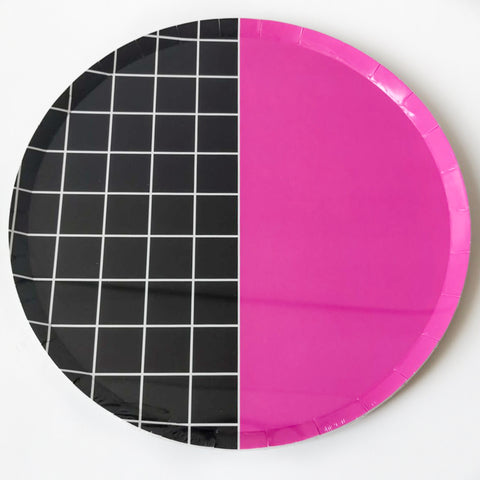 Pink Grid Large Paper Plate Pack