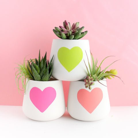 Large Heart Ceramic Planters
