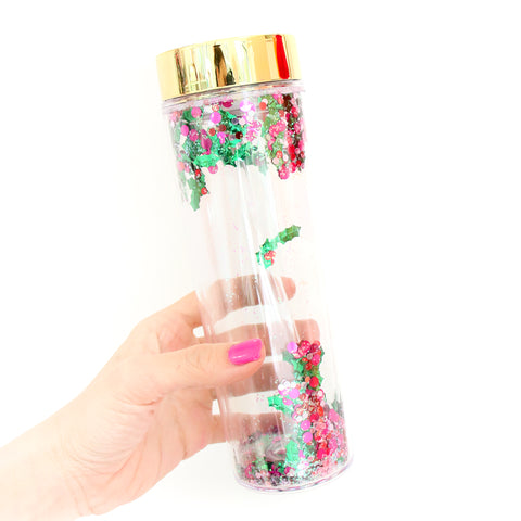 Holly Glitter Confetti Christmas Tumbler