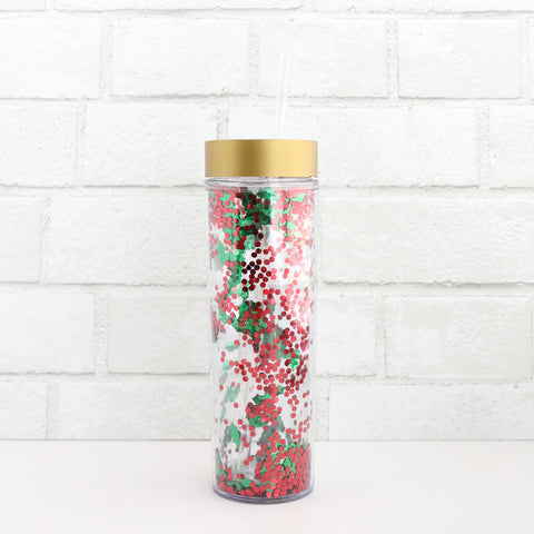 Holly and Berry Holiday Confetti Tumbler
