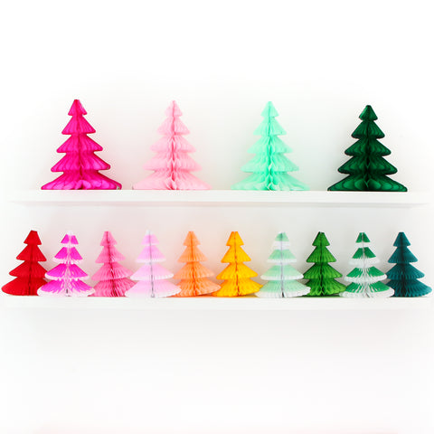 Honeycomb Tissue Paper Christmas Tree Decorations