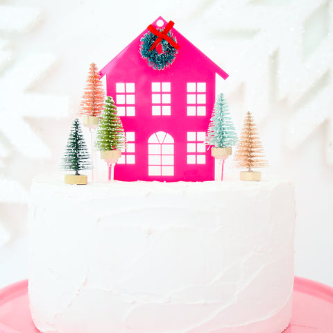 Holiday House Acrylic Christmas Cake Topper