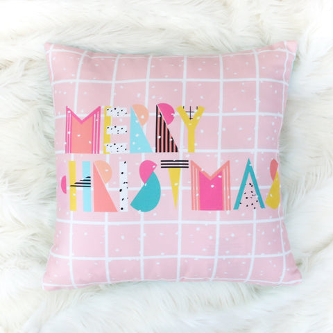 Christmas Throw Pillow - 80's Memphis Typography - Merry Christmas