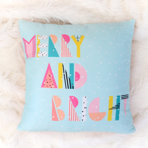 Christmas Throw Pillow - Merry and Bright 80's Typography