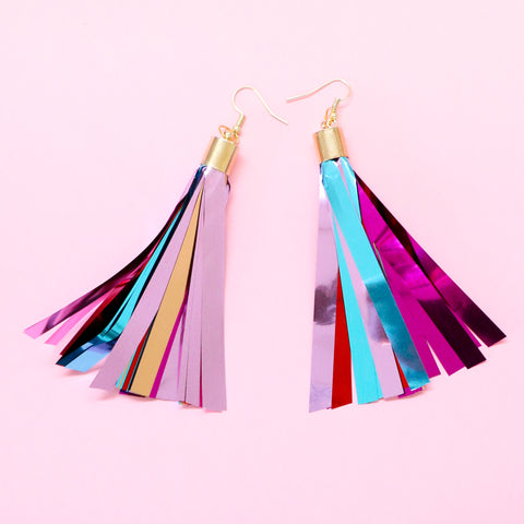Metallic Fringe Tassel Earrings
