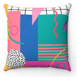 80's Themed Throw Pillow - Block