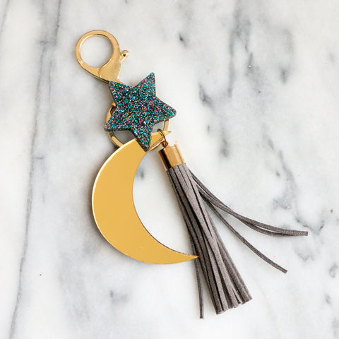 Moon and Star Keychain