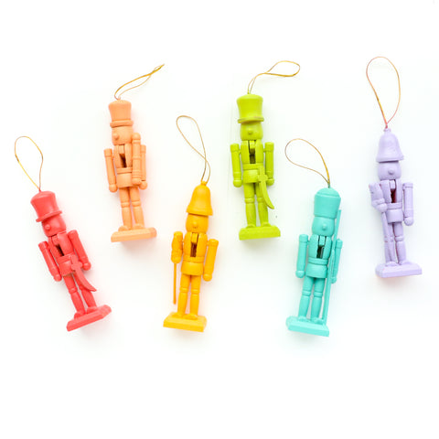 Wooden Nutcracker Ornament Set- Over the Rainbow
