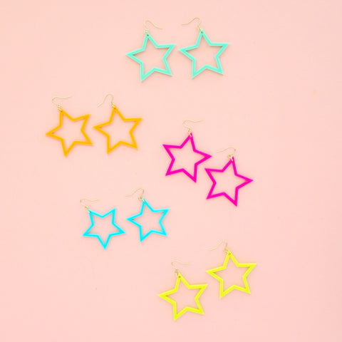 Neon Acrylic Star Earrings - 80's Glam