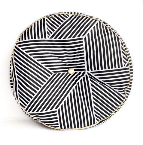 Black and White Geometric Throw Pillow with Gold Piping