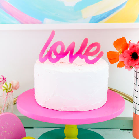 Neon Love Sign Acrylic Cake Topper