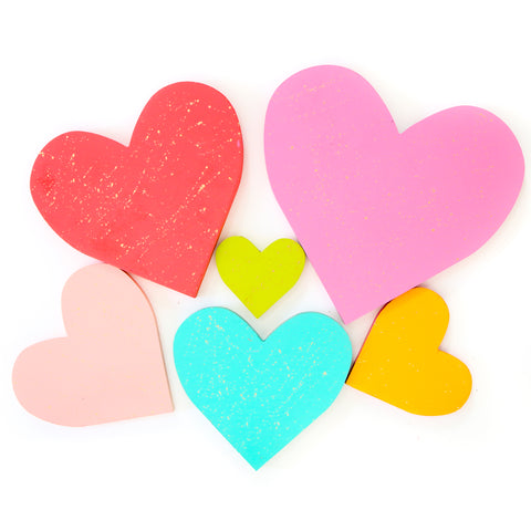 Gold Splatter Colorful Wood Heart Decorations for Valentine's Day
