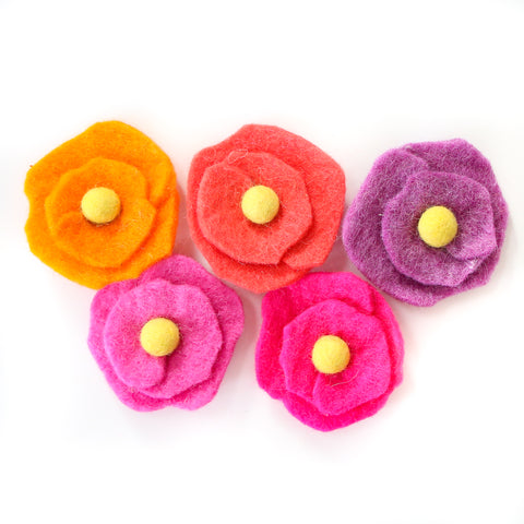 Felt Flower Magnet Set - Pink or Blue Set