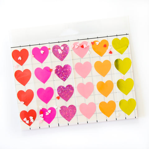 Set of Rainbow Heart Stickers for Valentine's Day