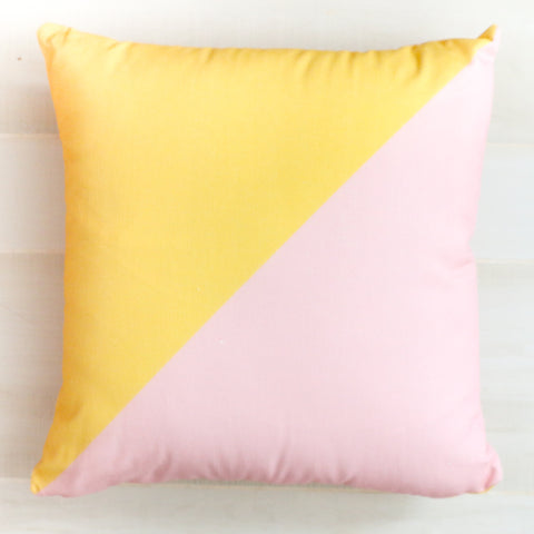 Pink and Yellow Color Blocked Throw Pillow