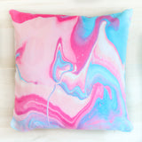 Blue and Pink Marble Throw Pillow