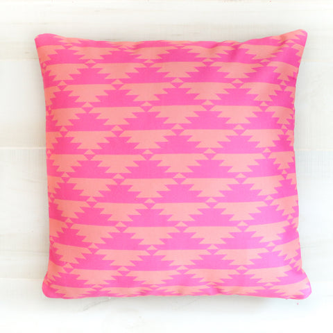 Pink and Coral Aztec Throw Pillow
