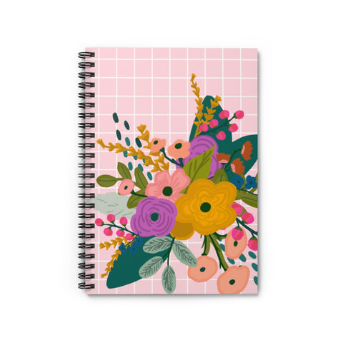 Pink Grid Floral Notebook - Ruled Line