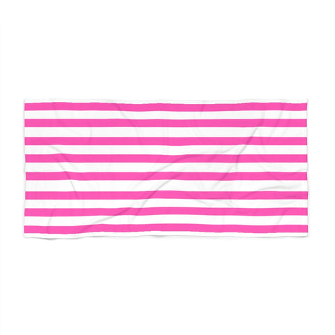 Hot Pink Cabana Stripe Beach Towel