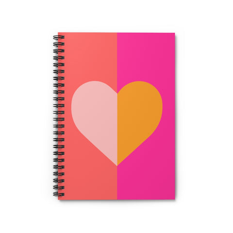 Color Block Heart Spiral Notebook - Ruled Line