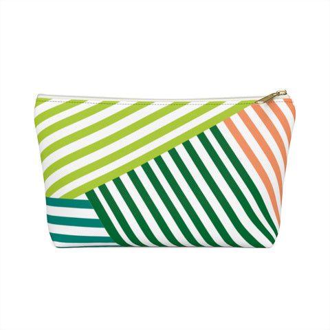 Green Geometric Stripe Zipper Pouch