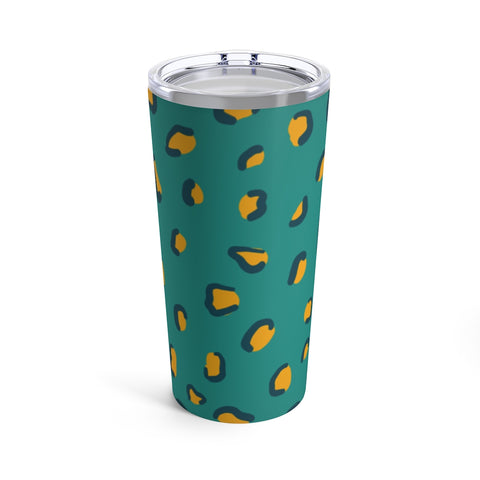Teal and Mustard Yellow Leopard Print Drink Tumbler