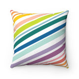 Organic Stripe Rainbow Throw Pillow