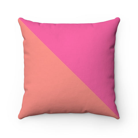 Pink and Coral Color Block Throw Pillow