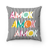 Amok Colorful Text Black and White Stripe Halloween Throw Pillow