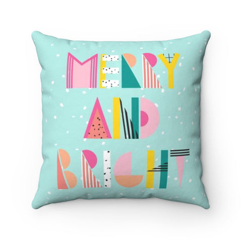 80's Merry and Bright Holiday Throw Pillow