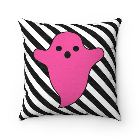 Pink Ghost Black and White Stripe Halloween Throw Pillow
