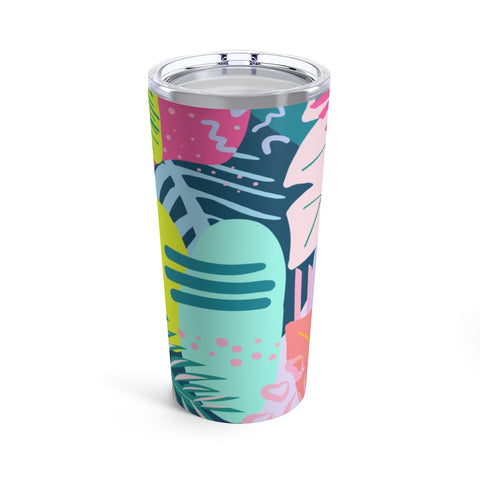 80's Tropical Print Drink Tumbler