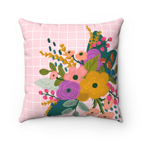 Pink Grid Floral Throw Pillow
