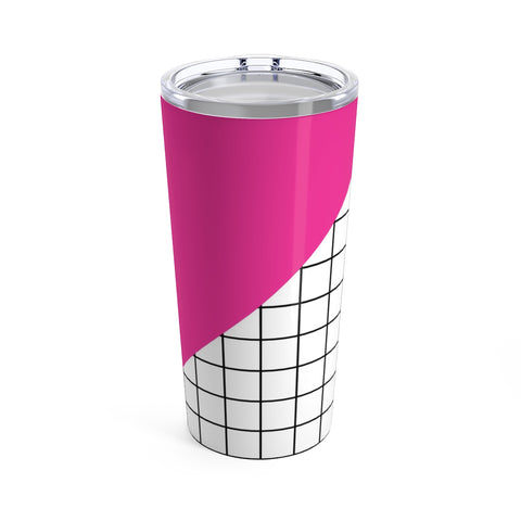 Pink Grid Color Block 80's Mod Stainless Steel Tumbler 20oz