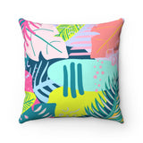 80's Tropical Throw Pillow