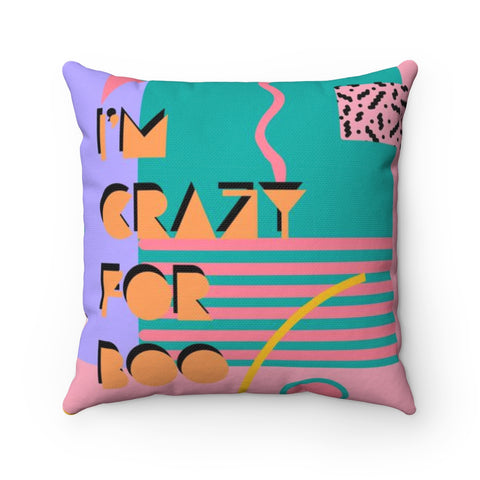 80's Inspired Crazy for Boo Halloween Throw Pillow