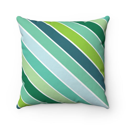 Green Stripe Holiday Throw Pillow