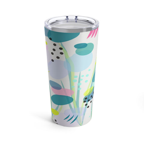 Abstract Lily Pad Floral Print Drink Tumbler
