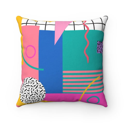 Memphis Design Inspired 80's Square Throw Pillow