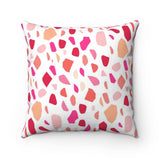 Pink and Red Terrazzo Valentine's Throw Pillow