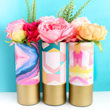 Pink and Yellow Brushstroke Abstract Art Pattern Wrapped Glass Flower Vase with Gold Base