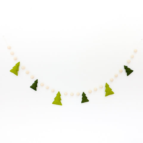 Puffy Christmas Tree Felt Garland