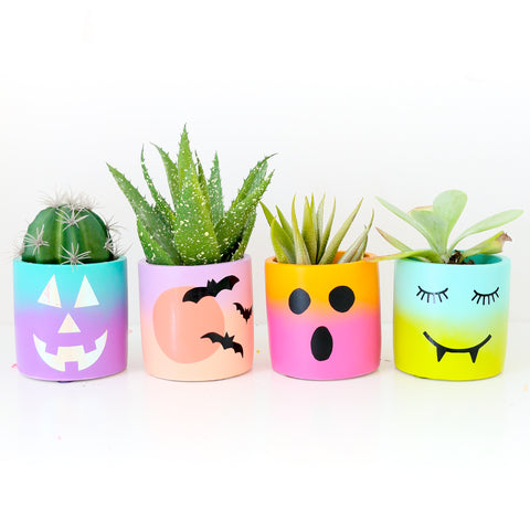 Colorful Gradient Planters for Halloween