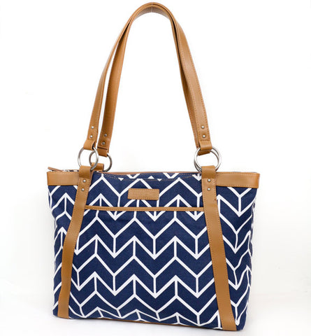 Navy Arrows Laptop Tote