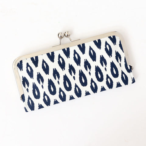 Leopard Cell Phone Wallet Clutch with Kisslock Frame Closure in Navy Animal Print Cotton