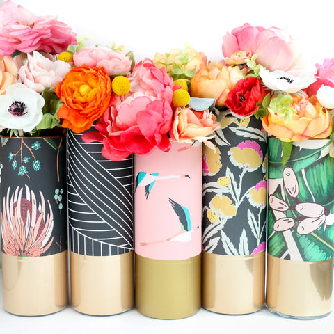 Pattern Wrapped Flower Vase - Palm Leaf, Floral, and Flamingos with Gold and Rose Gold Accents