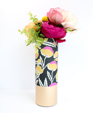 Black, Mustard Yellow, and Pink Floral Pattern Wrapped Flower Vase With Rose Gold Base - Flower Vase