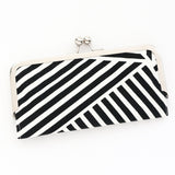 Black and White Cell Phone Wallet Clutch with Kisslock Frame Closure in Graphic Lines Printed Cotton