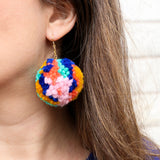 Pom Pom Earrings - Multi Color Blue and Yellow Yarn Pom Pom Earrings with Gold Ear Hooks