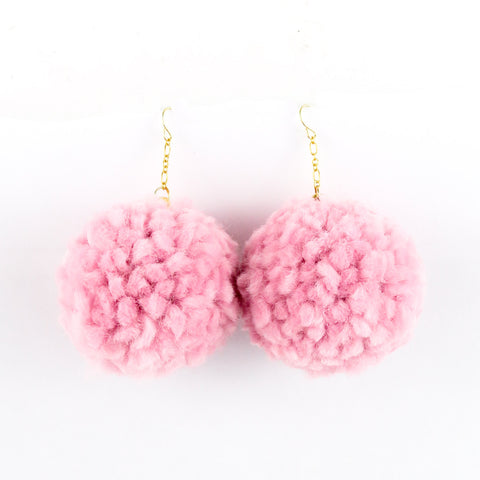 Pom Pom Earrings - Multi Color Yarn Pom Pom Earrings with Gold Ear Hooks - Light Blush Pink